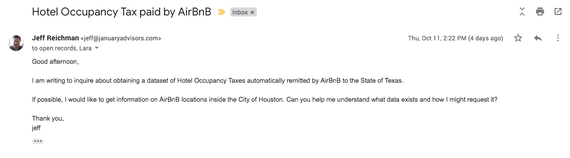 requesting open data from the state of texas